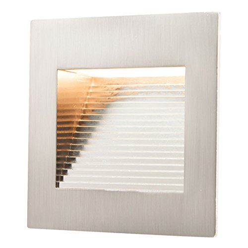 [LED Inner Square Step Light, 120 Volt Operation, 1 Watt, 3000 K, Stainless Steel, cETLus] (Square Steel Step)