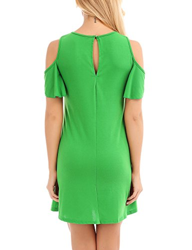 Shirt Tunic Casual Sleeve Shoulder Cold Uniboutique Top Swing XXL T Short S Green Dress Women a1gqwxnPU