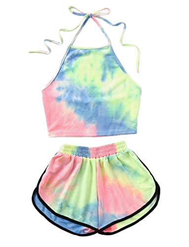 LeaLac Women's 2 Piece Tie Dyed Cotton Set Halter Crop Top and Shorts Set Yoga Sport Shorts L388-1032-Green-M