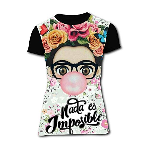 Womens Frida Kahlo Personalized Artist T Shirt Short Sleeve Printing Top Black]()