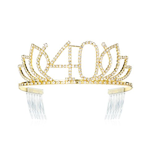 DcZeRong Queen 40 Birthday Tiara Women 40th Birthday Crown Gold Rhinestone Crystal Diamond Crown ()