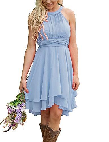 (Erosebridal Short Bridesmaid Dresses Chiffon Halter Prom Dress Country Wedding Dress Sky Blue 22 Plus)