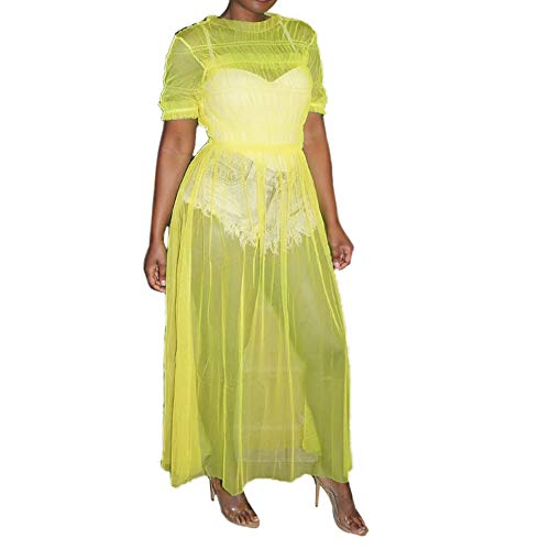 (Salimdy Womens Sexy Sheer Mesh See Through Maxi Dress Short Sleeve Round Neck Summer Party Clubwear Yellow L)