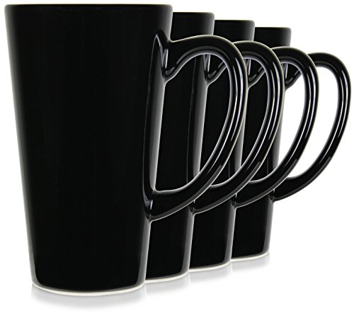 15oz Black Funnel Tall Mugs for Coffee or Tea. Large Handles and Ceramic, Set of 4 by Serami