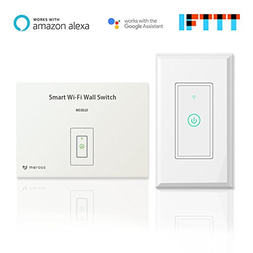 meross Smart Wi-Fi Wall Light Switch, Amazon Alexa and Google Assistant Supported, Fit for US/CA Wall Switches, Remote Control with Timing Function, No Hub Needed, White (MSS510 1 Pack)