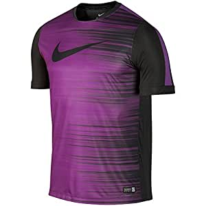 Nike Men's GPX Flash II Short Sleeve Shirt Small Anthracite/Bold Berry