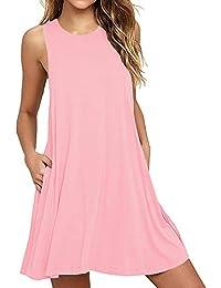 Women Summer Casual T Shirt Dresses Beach Cover up Plain Pleated Tank Dress