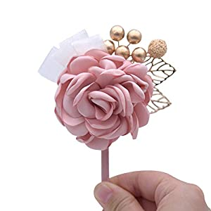 HuaHua-Store Artificial Flowers Wedding Corsage with Beaded Bridesmaid Groom Boutonniere for Wedding Party 12