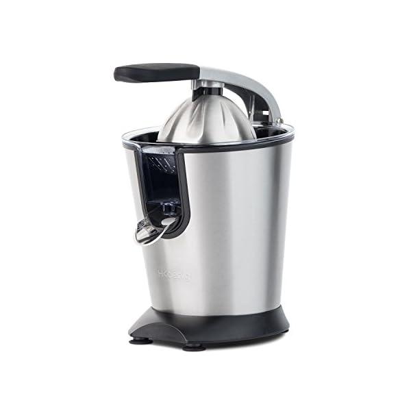 H.Koenig Presse Agrumes Electrique levier professionnel Inox AGR80 Sans BPA, Jus Orange, Citron, Pamplemousse, Rapide…