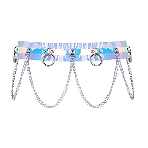 Newfancy Women's Holographic Body Chain Belt Leather Gothic Punk Adjustable Waist Belt