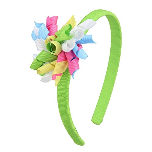 7Rainbows Fashion Headbands with Curled Korker Bows For Toddlers Girls (Apple Green)