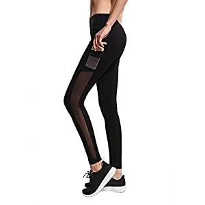 Imido Women's Yoga legging Mesh Tights Sport Workout Running Pants with Side Pocket (M)