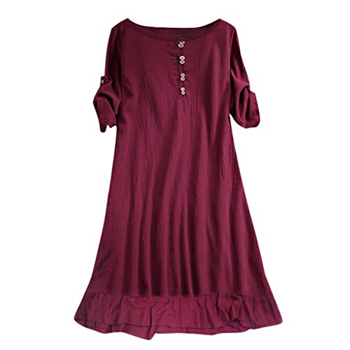 Spring Summer Soft Linen&Cotton Lantern Loose Dress Plus Size ()
