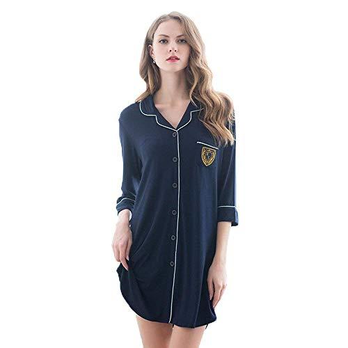 Casual Modernas Damas Dormir Cuello De Otoño Delantero Con Flojo V Manga Pijama Blau Chemise Larga En Botón Camisón Cómoda Ropa Sleepshirt OOw6gqfx