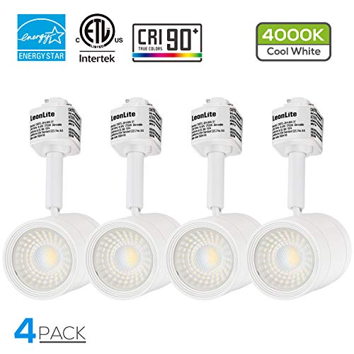 4 Pack 8.5W(50W Equiv.) Integrated CRI90+ LED White Track Light Head, Dimmable 38°Beam Track Lighting, 500lm Energy Star ETL-Listed, for Accent Task Wall Art Exhibition, 4000K Cool White