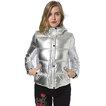 Women's Winter Puffer Jackets Long Sleeve Padded Silver