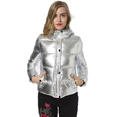 Women's Winter Puffer Jackets Long Sleeve Padded Silver Bread Style Down Coat Undetachable Hoodies 6