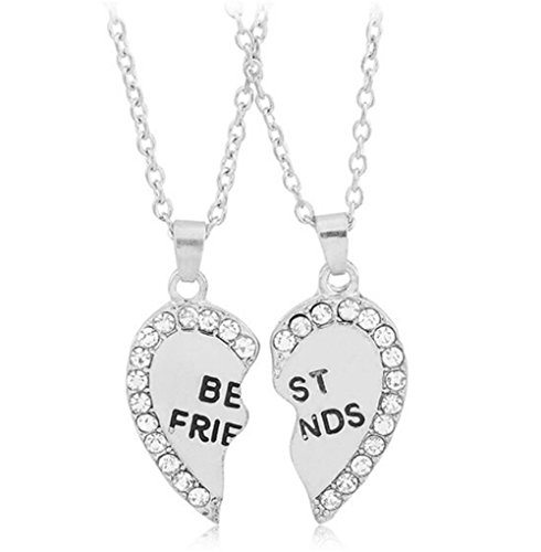 Fusicase Best Friends Forever Love Heart BFF Rhinestone Pendent Friendship Necklaces Gift for Friends(Silver)