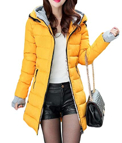 Skinny Mid Jacket Pure Zip Down Mogogo Warm Hood Long Womens Color Yellow Pocketed HwIHqFYP