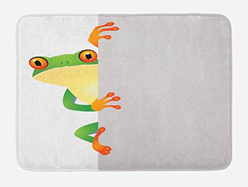 "Ambesonne Reptile Bath Mat, Funky Frog Prince with Big Eyes on Wall Camouflage Nursery Reptiles Theme, Plush Bathroom Decor Mat with Non Slip Backing, 29.5"" X 17.5"", Yellow Green"