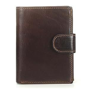 Leather Bag Mens Men's Wallet Short Vintage Leather Change Wallet First Layer Leather Vertical Bag High Capacity (Color : Brown, Size : S)