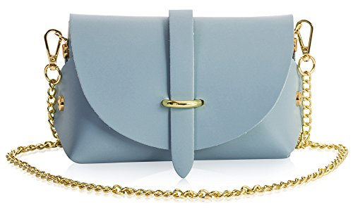 Shoulder Genuine LIATALIA Womens Leather Handbag Small CORIN Clutch Baby Mini Purse Party Blue CqXgXwT