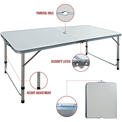 Restonc Aluminum Roll Up Folding Portable Camping Table Picnic Dining Set Patio Outdoor