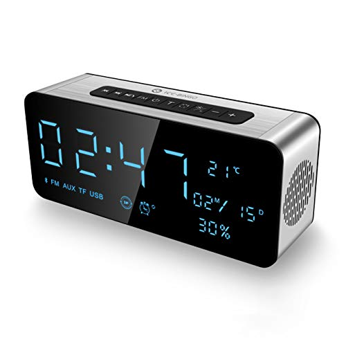 Alarm Clock Radio Bluetooth Speakers for iPhone, iPad/iPod/Android and Tablets, FM Radio Home Stereo, LED Display with Dimmer, Snooze Temperature Display, 12/24 Hours, USB Rechargeable Silver