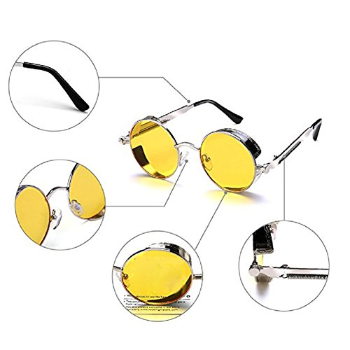 Men Frame UV Frame TEMPO Silver Protective Woman Driving Steampunk Round Lens Retro Metal Polarized Sunglasses Yellow Glasses q706qSFn