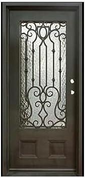 Custom Made doble exterior frontal entrada único Hierro forjado puerta de cristal puertas – Ito: Amazon.es: Bricolaje y herramientas