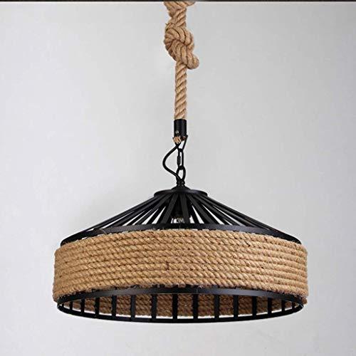 (Dmxydd Industrial Natural Hemp Rope Metal Iron Bowl Shade Pendant Ceiling Light Lighting Fixture, )