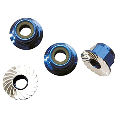 Traxxas 1747R Blue-Anodized Aluminum 4mm Flanged, Serrated Lock Nuts (set of 4): Toys & Games