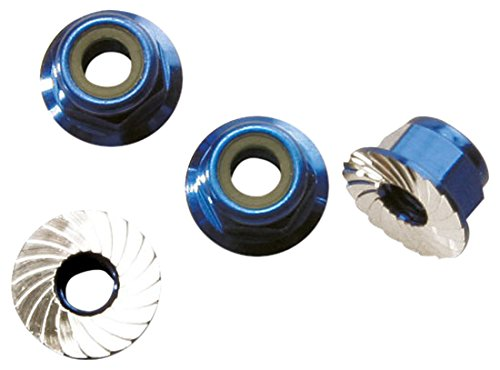 Flanged Aluminum Lock Nut (Traxxas 1747R Blue-Anodized Aluminum 4mm Flanged, Serrated Lock Nuts (set of 4))