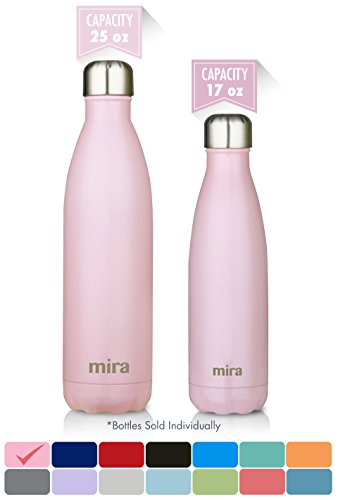 MIRA Stainless Steel Vacuum Insulated Water Bottle | Leak-proof Double Walled Cola Shape Bottle | Keeps Drinks Cold for 24 hours & Hot for 12 hours (Rose Pink, 25 oz (750 ml, 0.8 qt))