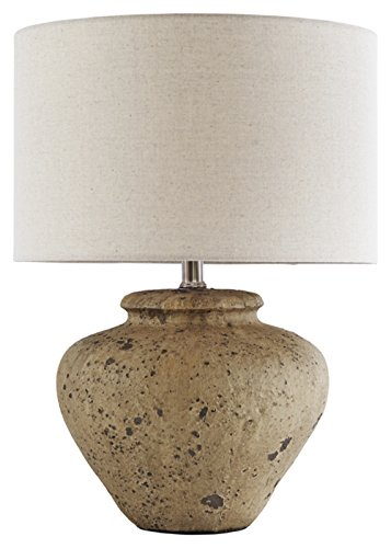 Beige Ceramic Table Lamp - Ashley Furniture Signature Design -  Mahfuz Contemporary Ceramic Table Lamp, Beige