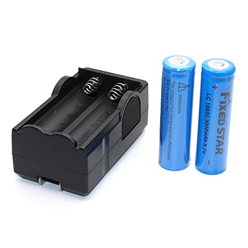 2pcs 18650 3000mAh 3.7V Li-ion Overcharge Protection Rechargeable Blue Batteries and a Smart Wireless Charger
