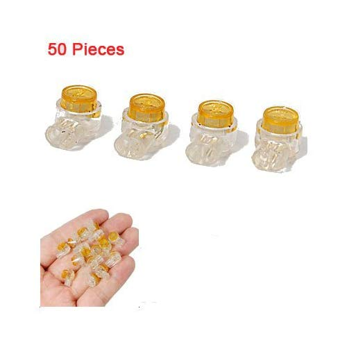 Davitu Promotion! 50 Pieces Yellow Button Gel Filled Phone Wire Butt Splice UY Connector 2 Port ()