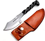 Old Ram Railroad Spike High Carbon Steel Blade Fix Blade Knife with Leather Carrying Case