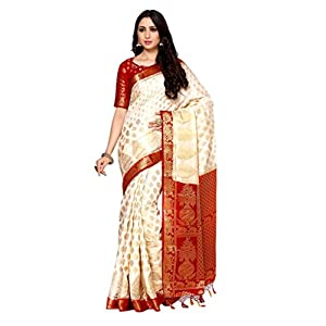 MIMOSA Women's Kanchipuram Silk Saree With Un-stitched Blouse (4081-222-2D-HWT-MRN_Beige)