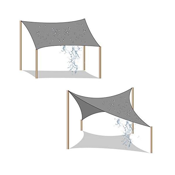 41NoWuKrGAL SONGMICS Sonnensegel 2 x 2 m, Sonnenschutz aus reißfestem HDPE-Kunststoff, wetterbeständiger UV-Schutz, luftdurchlässig…