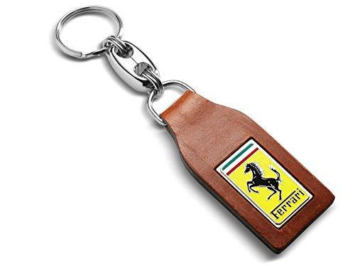 Genuine Ferrari Classic Brown Leather Key Ring 70003777