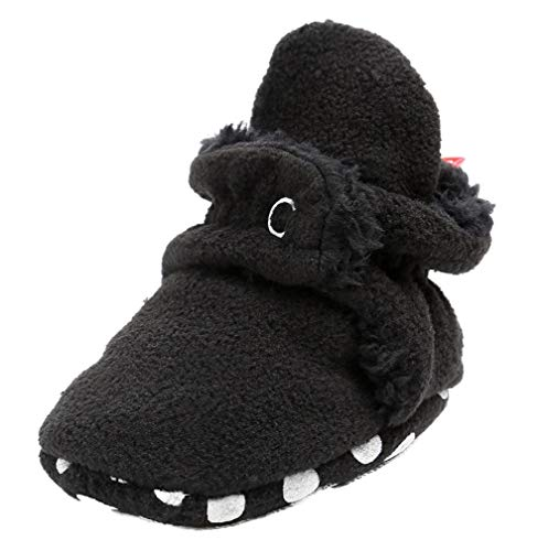 Vanbuy Baby Fleece Booties Newborn Infant Toddler Slippers Crib Shoes Warm Shoes with Anti Slip Bottom WB78-Black-S