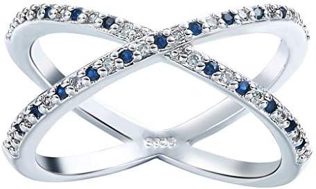 指輪 リング 婚約指輪 レディース オシャレ 華奢 ファッション ジルコニア シルバー+ブルー約19号