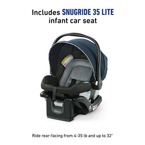 41NoX2wEueL - Graco NimbleLite Travel System | Includes Lightweight Stroller And SnugRide 35 Lite Infant Car Seat, Parent Storage, Compact Fold | Lightweight Stroller Under 15 Pounds, Belgrade