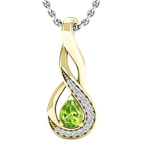 (Dazzlingrock Collection 18K 5X4 MM Pear Peridot & Round Diamond Ladies Pendant (Silver Chain Included), Yellow Gold)