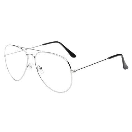 fea6b156d9c1 Amazon.com  Simayixx Hot sale!2018 Fashion Retro Men Women Clear Lens  Glasses Metal Spectacle Frame Myopia Eyeglasses Lunette Fe (Silver)  Sports    Outdoors