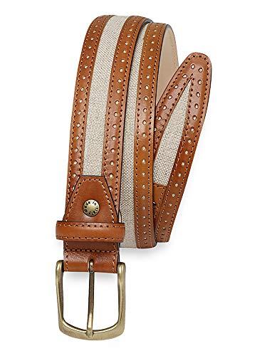 Paul Fredrick Men's Floyd Canvas \ Leather Belt Brown/natural 34