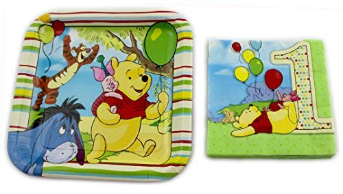 (Winnie the Pooh 1st Baby Birthday Lunch Plates and Napkins party set for 8)