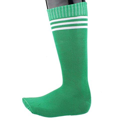 Men And Women Cotton Socks Tube Socks Striped Soccer Over Knee Thigh High Socks Stocking 1 Pair (Green)