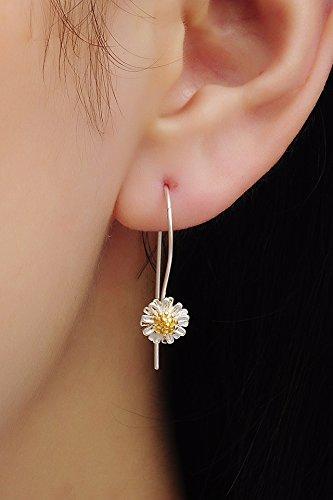 Thai Love You Little Daisy Earrings earings Dangler Eardrop Women Girls s925 Silver Long Korea Elegant Personalized Gift